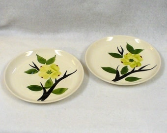 Vintage Joni Dixie Dogwood Hand Painted Coffee Tea Cup Saucers Set of Two 6 1/4 in. Diameter Blue Ridge