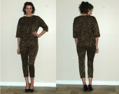 Reserved for leaflucky Vintage 2-Piece Black and Gold Animal Print Knit Outfit