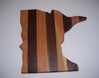 State of Minnesota cutting board - made of walnut and oak