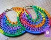 Rainbow Crochet earrings - crochet hoops - handmade crochet earrings