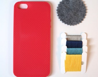 SALE - 50% OFF  DIY Kit - iPhone 5 cross stitch case - Red