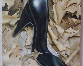 "Heeled, 9"" x 12"" original oil painting on cradled wooden panel, one-of-a-kind, 3/4"" thick"