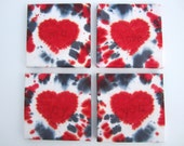 Tie-dye Wall Art with Red Hearts, Set of 4