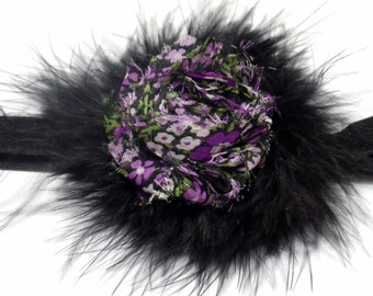 Flapper Headband Black Feather Boa Floral Shabby Flower Headband Black Fold Over Elastic Baby Headband