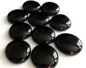 10 Large Flat Glass Gems - GLOSSY BLACK - Half Marbles - Mosaics/Wedding/Floral/Candle Display