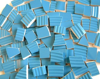 AZURE Blue - Solid Color Stoneware Mosaic Tiles - Recycled Plates - 100 Tiles