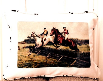 """shabby chic, feed sack, french country, vintage steeple chase horse racing graphic with script welting 12"""" x 16"""" pillow sham."""