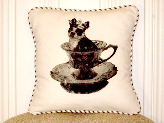 "shabby chic, feed sack, french country, vintage Boston Terrier graphic with crown and  french ticking welting 14"" x 14"" pillow sham."