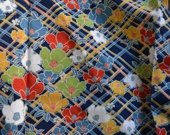 peony trellis blue Vintage Japanese wool kimono fabric 100 cm x 34 cm 1yd