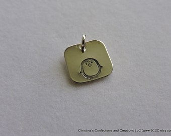 Hand Stamped Penquin Square Sterling Silver Charm or Necklace (#1617)