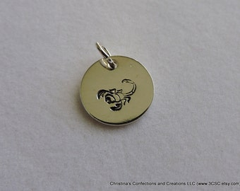 Hand Stamped Scorpion Charm or Necklace (#1606)