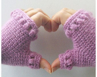 Crochet Pattern - Fingerless gloves / mitts - Puffy Band Mitts PDF digital download