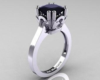 Classic 14K White Gold 2.0 Carat Princess Black Diamond Solitaire Wedding Ring R301E-14WGBD