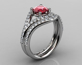 Nature Inspired 10K White Gold 1.0 Ct Ruby Diamond Classic Vine Engagement Ring Wedding Band Set R517S-10KWGDR