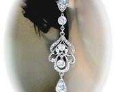 Long rhinestone chandelier earrings - Brides earrings - Cubic zirconias - Statement earrings - Sterling posts - Bridal Jewelry ~ Prom ~ GIFT