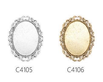 10pcs Cameo Brooch base with 30x40mm bezel, fit 30x40mm oval cabochons