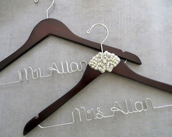 RUSH ORDER Rhinestone Bride and Groom Hanger Set, Personalized Wedding Hanger, Engagement Gift, Couples Shower Gift, Mr and Mrs Hangers