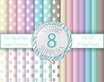 INSTANT DIGITAL DOWNLOAD - 12X12 Pastel Polka Eggs & Solid Color Variety Pack - 21 Sheets - One-of-a-kind Design by Studio 8 Supplies