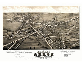 Vintage Map of Akron Ohio 1882, Aerial View, Panoramic, Vintage City Map, Antique Map