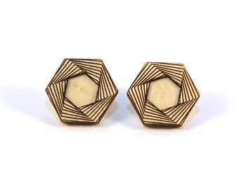 AMULET | hexagon wood studs, laser cut wood post earrings