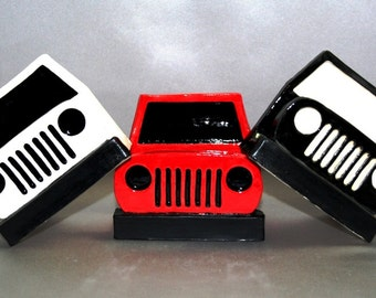 Big Nose Jeep (WHITE with BLACK grill) business card, phone, post-it note holder. Designed and handbuilt by Ek Creations. Exclusive Design.