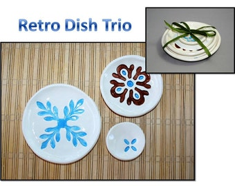 Retro Dish Trio: Blue and Brown retro patters on this dish set. Sushi, tea set, ring dishes, themed dishes.