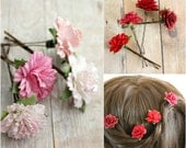Pink Carnation Flower Hair Pin, Red Carnation,  Bridesmaids,  woodland. wedding hair accessories, rustic,  holiday, flower hair pins