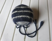 Newborn Navy and Cream Baby Alpaca Classic Knit Bonnet - Ready to Ship Newborn Photography Prop