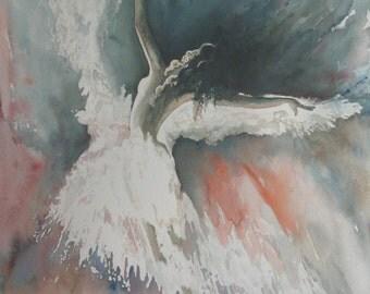 """Original watercolor painting """"Dancer's Silhouette"""""""