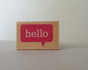 Hello Wooden Mounted Rubber Stamping Block DIY cards, scrapbooking, tags, Invitations, Greeting Cards, and Scrapbooking