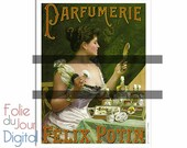 Digital French soap perfume advert illustration drawing parfumerie Félix Potin - large image printable - Instant Download