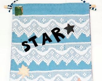 Star - Textile Wall Hanging made from vintage blanket,  vintage lace and fabrics, blue, white. Gift