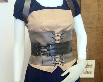 Layered Leather Corset Set--- Bustier, Cincher, Belt and Shoulder Harness--- Custom made-- Viking, Rennaissance, Steampunk