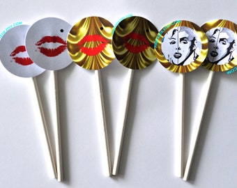 20 red lips Cupcake Toppers, red lips Party, red lips Party favors, lips buttons, red lips Birthday, lips cupcake