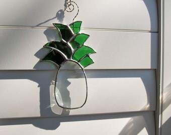 """Welcome Home """"Pineapple""""  Stained Glass Crystal Bevel  - Unique - One of a Kind -"""