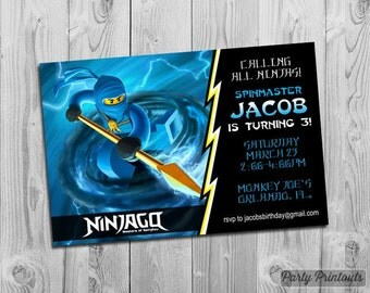 Ninjago Birthday Party Invitation: Printable Custom Invite Blue Yellow YOU PRINT. Matching Party Printables, other Invitations Available