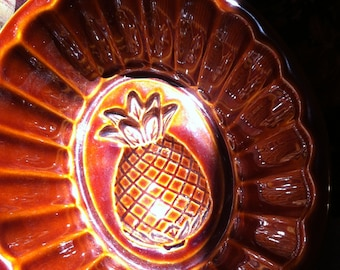 Pineapple Food Mold, Brown Glaze, Wired for Hanging also