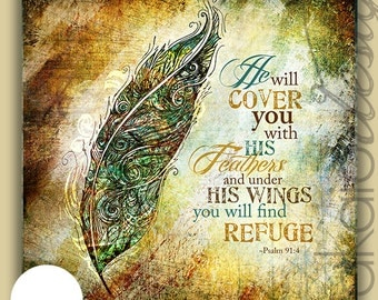 Whimsical Feather Illustration Psalm Scripture Art Gallery Wrapped Canvas or Print