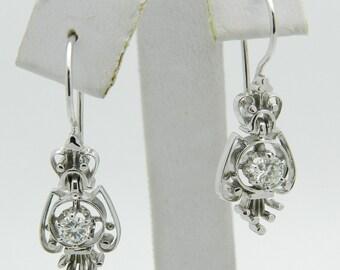 Diamond Dangle Drop Earrings Vintage Antique Reproduction 14K White Gold
