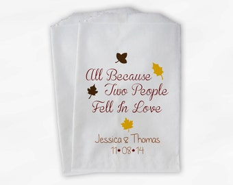 Two People Fell In Love Wedding Candy Buffet Treat Bags - Fall Leaves Personalized Favor Bags with Names and Wedding Date (0105)