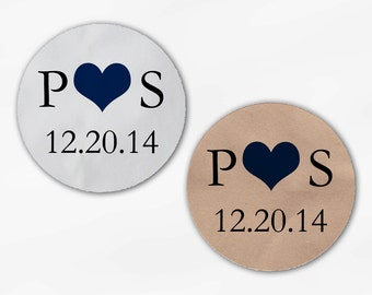 Initials and Heart Wedding Favor Stickers - Navy and Black Custom White Or Kraft Round Labels for Bag Seals, Envelopes, Mason Jars (2004)