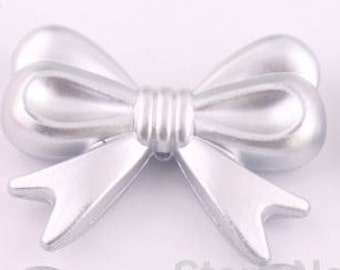 4 Silver Bow Beads for Chunky Jewelry, Colorful Acrylic Beads, Bowknot,  36mm * 46mm, 1mm hole, H69