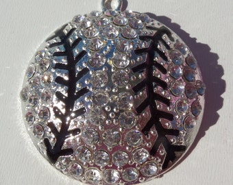 SaLE!! 45mm, Rhinestone Baseball Pendant, Sports, Americas Past time, Ball Chunky Necklace Pendant, P45