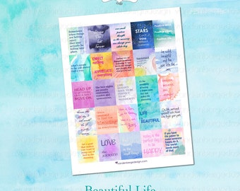 Printable Planner Calendar Stickers -Beautiful Life-Perfect for the Erin Condren Life Planner!