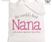 World's Best Nana Tote Bag with Grandkids's Names - Perfect for Mother's Day Gift - Nana Christmas Gift or Nana Birthday Gift