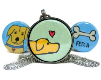 Mutt Love Dog Necklace Set - Golden Retreiver Pendant - Set of 3 Interchangeable Magnets and Pewter Pendant in Gift Tin