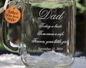 Dad Wedding Gift Mug - Choice of Phrases - Choice of Fonts - Choice of Charms