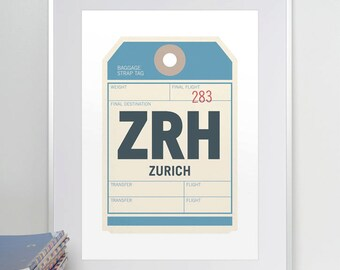 Zurich, Switzerland, ZRH. Luggage Tag Poster. Baggage Tag Print. Travel Poster. Airport Code. Aviation Art. A3. 11x14.