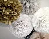 1 small sparkling - gliter  or metallic  tissue paper pompoms  - party decorations - christmas decorations
