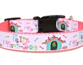 "Holiday Dog Collar 1"" Feliz Navidad Dog Collar SIZE SMALL"